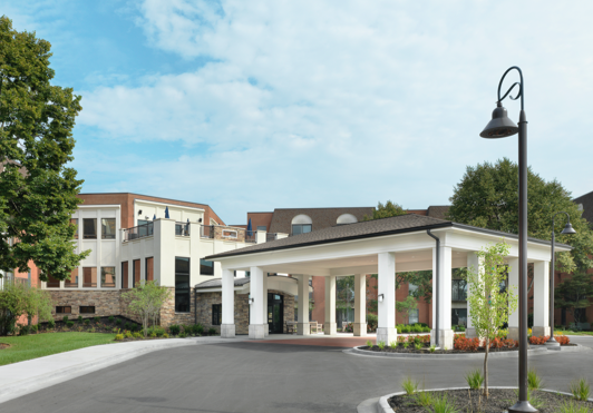 Front entry of Kingswood Senior Living Located in Kansas City, MO.