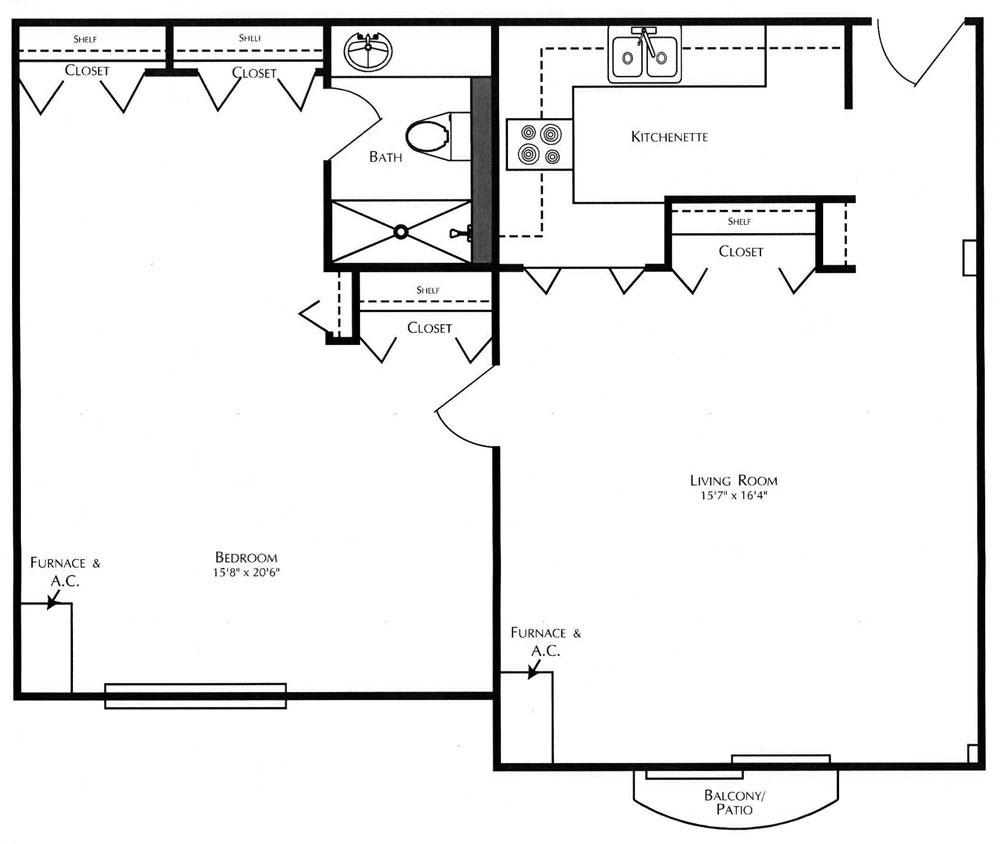 A one bedroom cartright floor plan at Kingswood Senior Living Located in Kansas City, MO.