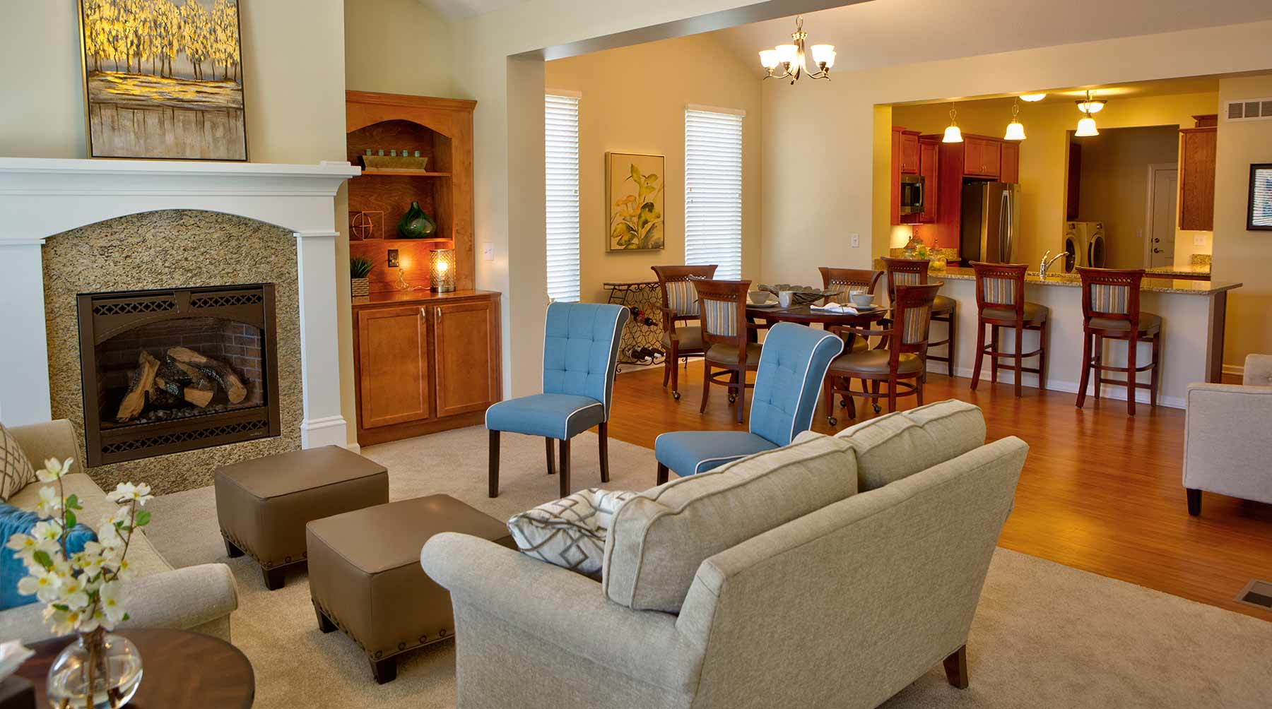 A living room in one of the apartment at Kingswood Senior Living Located in Kansas City, MO.