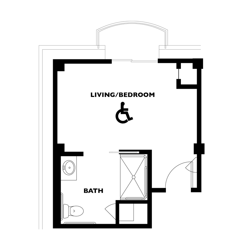 The Derby Suite floor plan located at Kingswood Senior Living Located in Kansas City, MO.