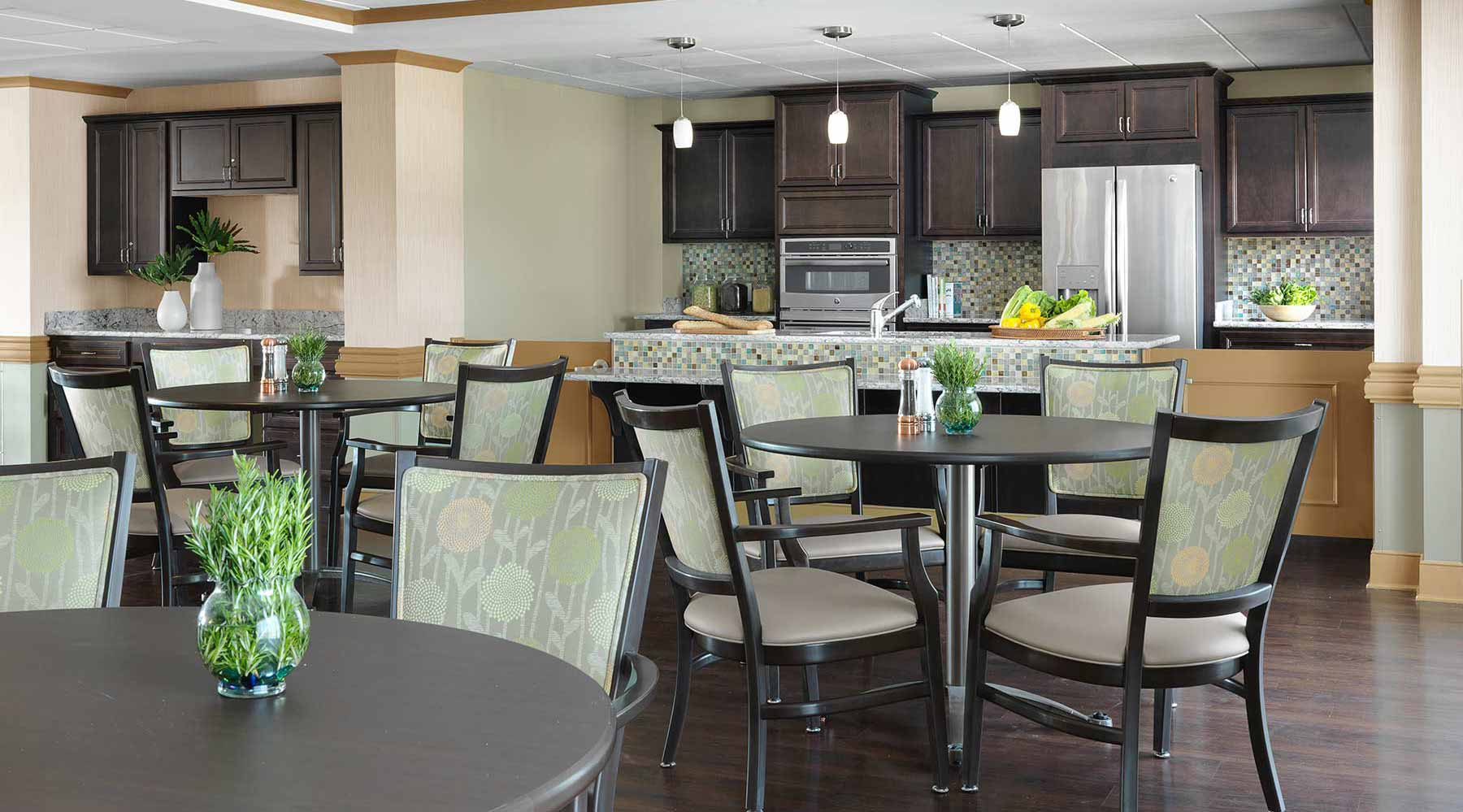 The memory care kitchen at Kingswood Senior Living Located in Kansas City, MO.