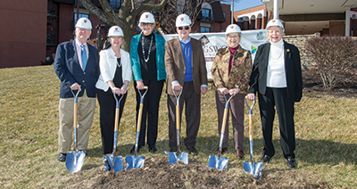 Staff members getting ready for the ground breaking at Kingswood Senior Living Located in Kansas City, MO.