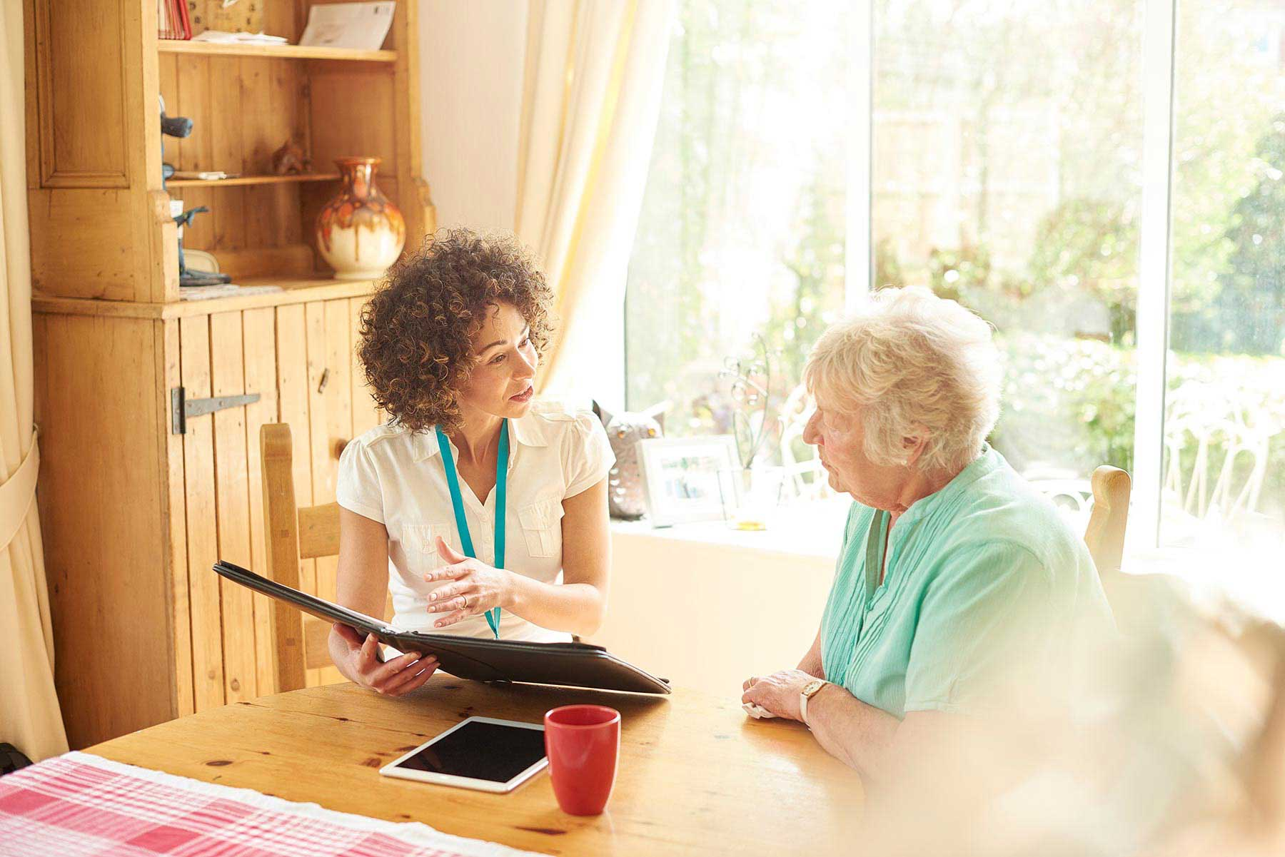 A nurse and memory support resident at Kingswood Senior Living Located in Kansas City, MO.